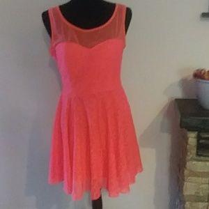 Coral laced eyelet sleeveless dress.  Large